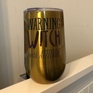 Witch attitude stemless goblet with drinking lid